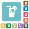Longdrink flat icons - Longdrink white flat icons on color rounded square backgrounds