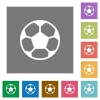 Soccer ball square flat icons - Soccer ball flat icons on simple color square background.
