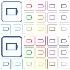 Empty battery color outlined flat icons - Empty battery color icons in flat rounded square frames. Thin and thick versions included.