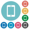Smartphone flat white icons on round color background. - Smartphone flat round icons