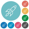 Launched rocket flat round icons - Launched rocket flat white icons on round color background.