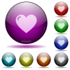 Heart shape color glass sphere buttons with shadows. - Heart shape glass sphere buttons