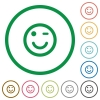 Winking emoticon flat icons with outlines - Winking emoticon flat color icons in round outlines