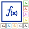 Function flat framed icons - Function flat color icons in square frames