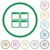 Mosaic window view mode flat icons with outlines - Mosaic window view mode flat color icons in round outlines