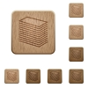 Paper stack wooden buttons - Paper stack icons in carved wooden button styles