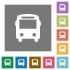Bus square flat icons - Bus flat icons on simple color square background.