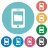 Smartphone data storage flat round icons - Smartphone data storage flat white icons on round color background.