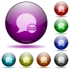 Blog comment attachment glass sphere buttons - Blog comment attachment color glass sphere buttons with shadows.