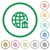 Internet banking flat icons with outlines - Internet banking flat color icons in round outlines