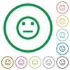 Neutral emoticon flat icons with outlines - Neutral emoticon flat color icons in round outlines