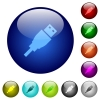 USB plug color glass buttons - USB plug icons on round color glass buttons
