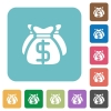 Dollar bags flat icons - Dollar bags white flat icons on color rounded square backgrounds