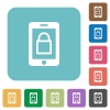 Smartphone lock flat icons - Smartphone lock white flat icons on color rounded square backgrounds