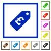 Pound price label flat framed icons - Pound price label flat color icons in square frames