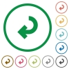 Return arrow flat color icons in round outlines - Return arrow flat icons with outlines