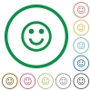 Smiling emoticon flat icons with outlines - Smiling emoticon flat color icons in round outlines