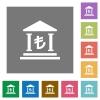 Turkish Lira bank flat icons on simple color square background. - Turkish Lira bank square flat icons