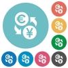 Euro Yen exchange flat round icons - Euro Yen exchange flat white icons on round color background.
