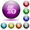 Indian Rupee coins glass sphere buttons - Indian Rupee coins color glass sphere buttons with shadows.