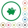 Dollar piggy bank flat icons with outlines - Dollar piggy bank flat color icons in round outlines