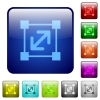 Resize element color square buttons - Resize element color glass rounded square button set