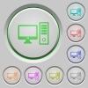 Desktop computer push buttons - Desktop computer color icons on sunk push buttons