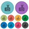 Camera with flash color flat icons - Camera with flash flat icons on color round background.
