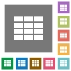 Spreadsheet square flat icons - Spreadsheet flat icons on simple color square background.
