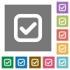 Checkbox square flat icons - Checkbox flat icons on simple color square background.
