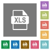 XLS file format square flat icons - XLS file format flat icons on simple color square background.