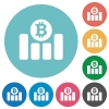 Bitcoin graph flat round icons - Bitcoin graph flat white icons on round color background.