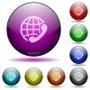 International call glass sphere buttons - International call color glass sphere buttons with shadows.