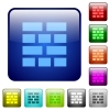 Brick wall color square buttons - Brick wall color glass rounded square button set