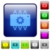 Hardware settings color square buttons - Hardware settings color glass rounded square button set