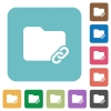 Folder link flat icons - Folder link white flat icons on color rounded square backgrounds