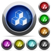 Cubes icons in round glossy buttons with steel frames - Cubes glossy buttons