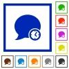 Blog comment time flat framed icons - Blog comment time flat color icons in square frames