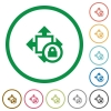 Size lock flat icons with outlines - Size lock flat color icons in round outlines