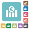 Euro graph flat icons - Euro graph white flat icons on color rounded square backgrounds