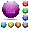 Sound bars glass sphere buttons - Sound bars color glass sphere buttons with shadows.