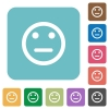 Neutral emoticon flat icons - Neutral emoticon white flat icons on color rounded square backgrounds