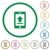 Mobile upload flat icons with outlines - Mobile upload flat color icons in round outlines