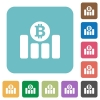 Bitcoin graph flat icons - Bitcoin graph white flat icons on color rounded square backgrounds
