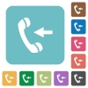 Incoming call flat icons - Incoming call white flat icons on color rounded square backgrounds