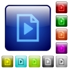 Playlist color glass rounded square button set - Playlist color square buttons