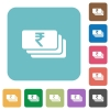 Indian Rupee banknotes flat icons - Indian Rupee banknotes white flat icons on color rounded square backgrounds