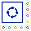 Rotate right flat framed icons - Rotate right flat color icons in square frames
