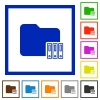 Organize folder flat framed icons - Organize folder flat color icons in square frames