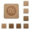 Israeli new Shekel sticker wooden buttons - Israeli new Shekel sticker icons in carved wooden button styles